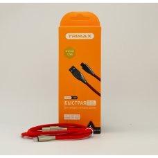 USB Кабель Trimax Micro-USB T1M 1m красный, тканевая оплетка